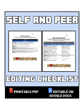 Self And Peer Editing Checklist Editable In Google Docs By ROOMBOP - Google docs checklist