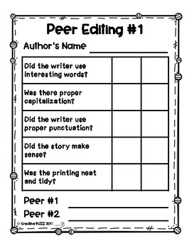 Self and Peer Editing Checklists