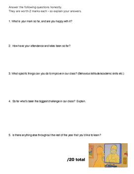 Self-assessment - Tracking Sheet for high school