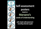 Self-assessment display and pupil recording sheet (based on Marzano's LOU)