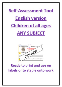 Self-assessment tool for children English version