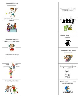 Self-check center worksheet for Ir + a + infinitive and jugar