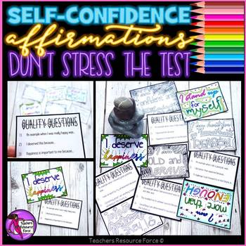 Self-confidence coloring affirmation cards