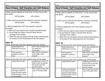 Self-discipline vs Self-reliance Exit Ticket