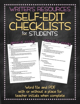 Self-edit checklists: for students to check their writing