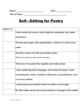 Self-editing checklist for Poetry