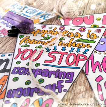 Self-esteem Coloring Sheets, Pages, Banners, Pennants of Inspirational Quotes