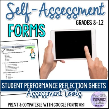 Student Performance Reflection Sheets/Self-assessment Forms Print and Paperless