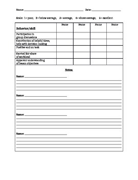 Self-evaluation and Teacher-evaluation sheets