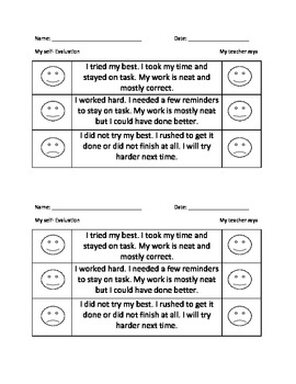 Self-evaluations for Primary students