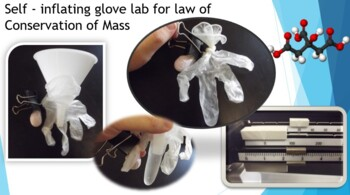 Self - inflating glove for Law of Conservation of mass presentation