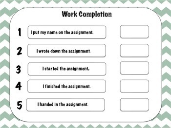 Classroom Management Self monitoring Work Completion Form