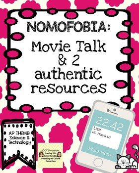Selfie Cat Movie Talk and Authentic Resources on Nomophobia