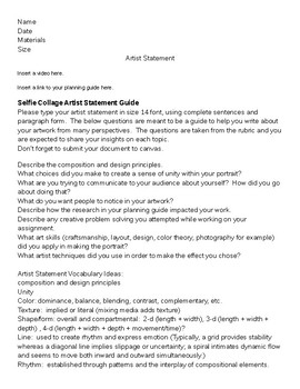 Selfie Collage Artist Statement Guide and Rubric