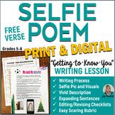 SELFIE Free Verse Poem - Print & DIGITAL Distance Learning - Back to School