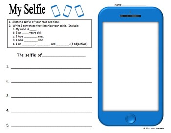 Selfie Sketch and Sentences - English Adjectives, Age, Name, Hair and Eyes