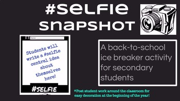 Selfie Snapshot: Back to School Ice Breaker for Secondary Students