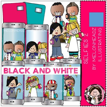Selfies clip art - Part 2 - Black and White - by Melonheadz