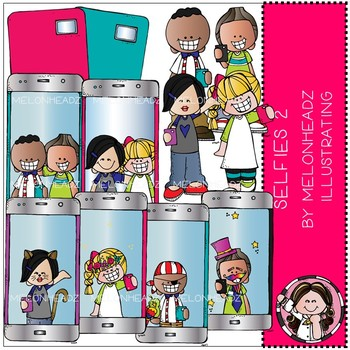 Selfies clip art - Part 2 - COMBO PACK - by Melonheadz