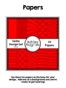 Seller Design Clipart Bundle: Red {A Hughes Design}