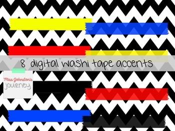 Seller Kit: Digital Papers, Frames, Washi Tape {Primary Colors}