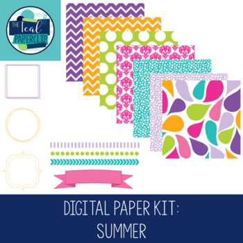 Digital Paper Kit: Summer Papers, Borders, and Frames