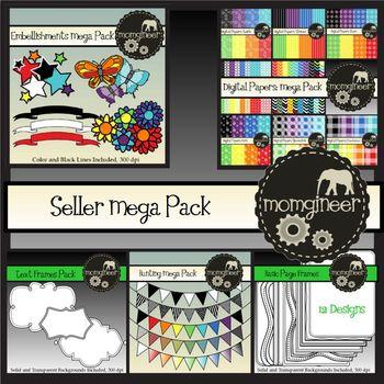 Seller MEGA Pack BUNDLE: Papers, Frames, Embellishments (Commercial Use)
