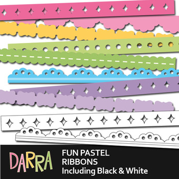 Seller resource long ribbons for borders - pastel - commercial use clipart