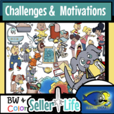 Seller's Life: Challenges and Motivations- 100 pcs. Clip-Art! BW/Color