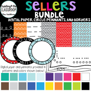 Sellers Bundle {Digital Paper, Frames, Pennants and Borders) 200+