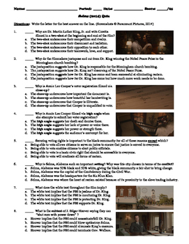 Selma Film 2014 25 Question Multiple Choice Quiz By Bradley Thompson