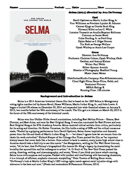 Selma Film (2014) Study Guide Movie Packet