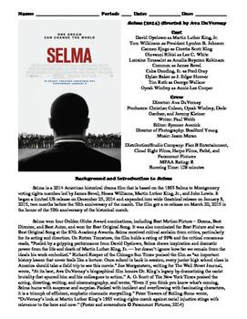 Selma Film (2014) Study Guide Movie Packet
