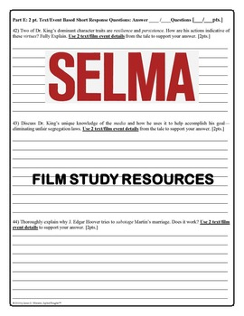 Selma Film Study Resources Dr. Martin Luther King, Jr. Black History