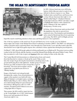 Selma March for Civil Rights Reading, Worksheet, and Interactive Notebook