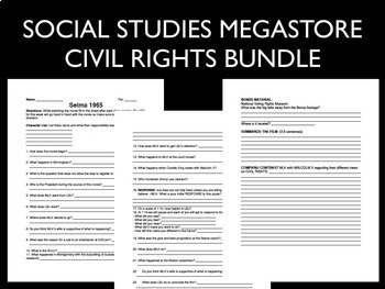 Selma Video Guide Bundle Civil Rights Movement Martin Luther King Jr. Activities