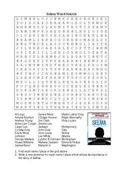 Selma Word Search Puzzle - Names and Places