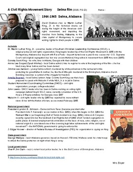 Selma film - Civil Rights Movement - key people & notes - student handout