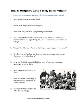 Selma to Montgomery March & Bloody Sunday Webquest (Civil Rights)