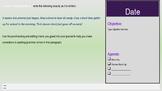 Sem 1 Warm Ups w/Space for Agenda, Objective, Date, TEKS/ ELPS (Lime Background)