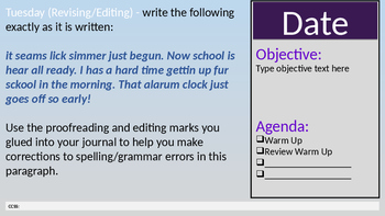 Sem 1 Warm Ups with Space for Agenda, Objective, Date & CCSS (Blue Background)