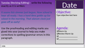 Sem 1 WarmUps w/Space for Agenda, Objective, Date, CCSS (Purple Background)