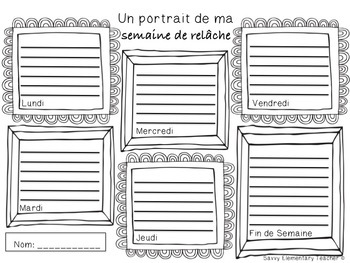 Semaine de Relâche - Spring Break Daily Drawing/Writing Activity