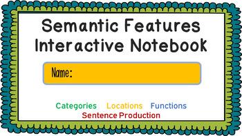 Semantic Features Digital Interactive Notebook - Categories, Location & Function