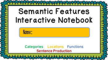 Semantic Features Digital Interactive Notebook - Categories, Location & Function
