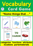 Vocabulary Building Card Game ~ 4 Speech Therapy Sp Ed ESL Autism