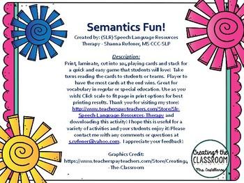 Semantics/Vocabulary Card Game