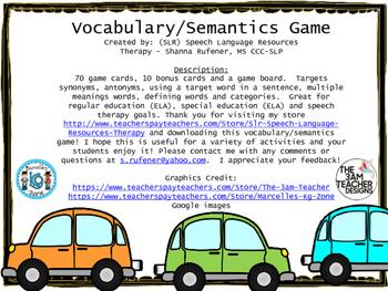 Semantics/Vocabulary Game