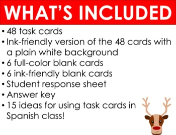 48 Holiday Task Cards for Spanish 1 Review