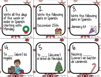 Spanish Christmas Activity - 48 Holiday Task Cards for Spanish 1 Review
